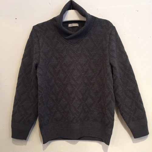 【WRAPINKNOT】BACK JACQUARD SHAWL PULLOVER [WK16AW-PO05M]GRAY
