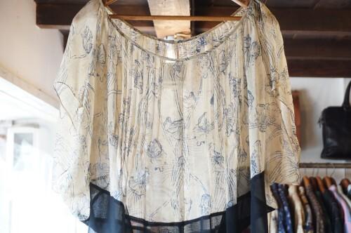 flower printed silk georgette sheer Top