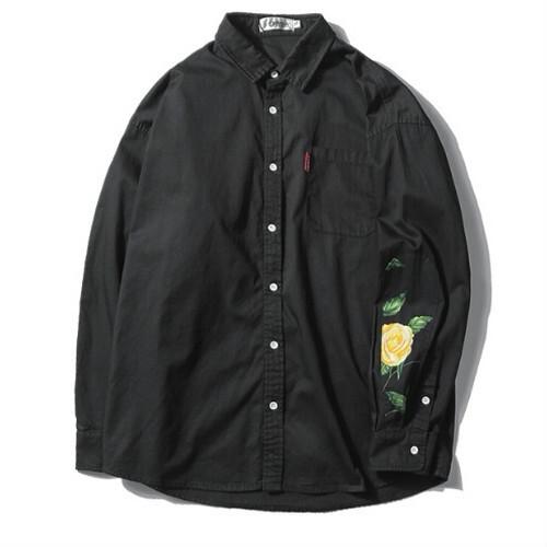 メンズ大きいサイズ袖花柄長袖シャツブラックカラー