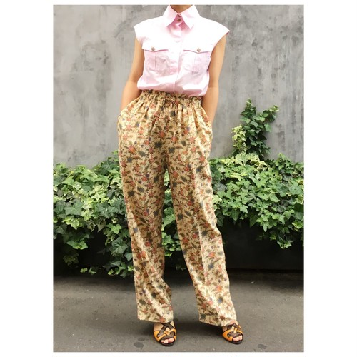 Flower print drawstring pants