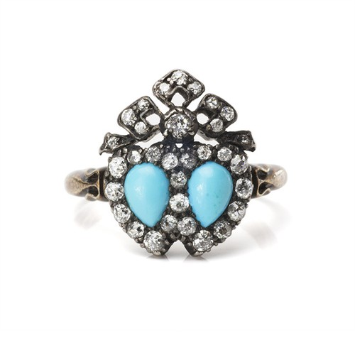 Victorian Turquoise Double Heart Ring