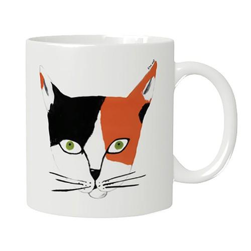 猫マグカップ「ミケ」!ご希望の方には、お好きなイニシャルお入れします。