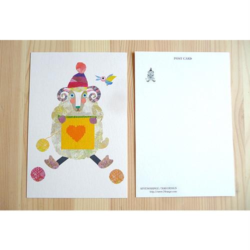 ポストカード(編み物ひつじ)
