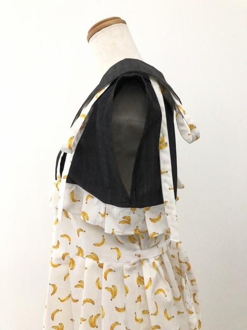 バナナ×黒ダンガリーのハイブランド感。クールで可愛いサマードレス風丸襟ワンピース。一点もの コットン100% フレンチスリーブ スタイリッシュ サンドレス 丸襟ブラウス 裾フリル エレガント バックリボン