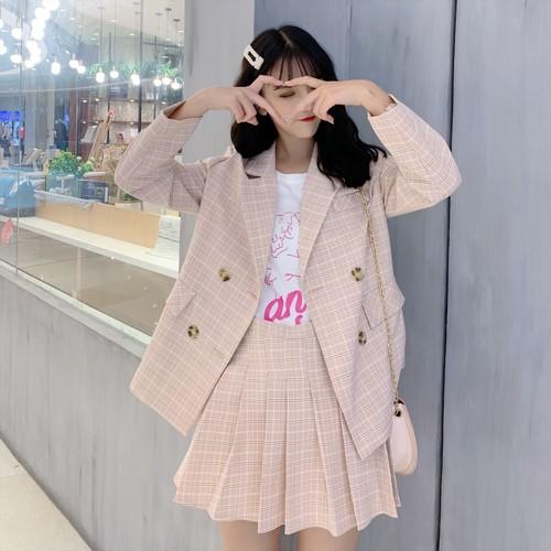 【セットアップ】韓国系チェック柄通勤スーツジャケット+プリーツスカート二点セット