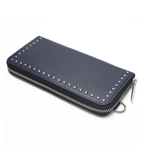 183AWA21 Leather long wallet fold 'corner studs' KS ラウンドファスナーロングウォレット
