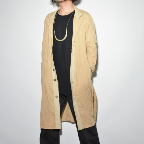 "Leather×Cotton ""Coat""- Beige"