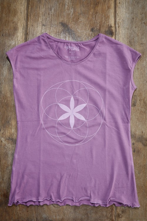 PRANA LADYS YOGHINI FLOWER OF LIFE T hert chakra purple