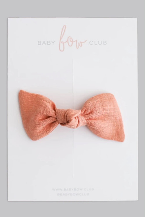 BABY BOW CLUB Dusty Orange Linen // Clip