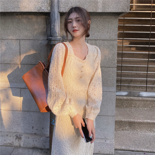 【dress】おしゃれ度高まる  ファッション無地レースデートワンピース着瘦せ