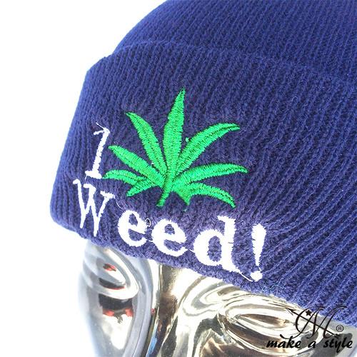 WEED ウィード マリファナ ガンジャ ヘンプ 草 ハッパ ニットキャップ ワッチキャップ ニット帽 845