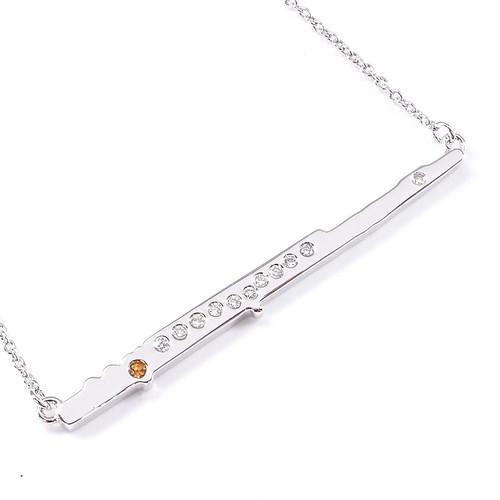 SILVER925 フルート ダイヤモンドペンダント(プラチナコーティング)