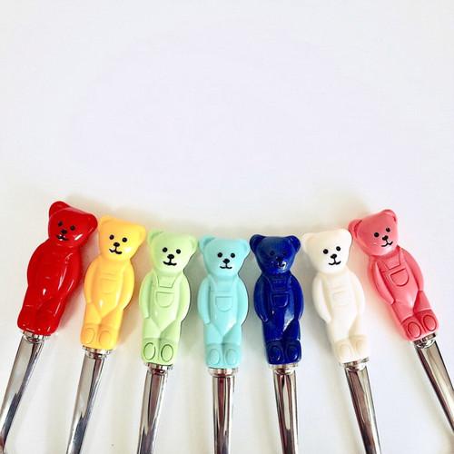 bear spoon fork SET ver.1 7colors / くまさん スプーン フォーク セット クマ テディーベア カトラリー 韓国 雑貨