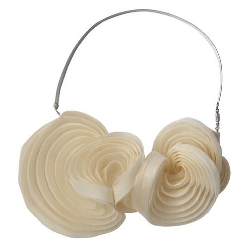 《ネックレス》Pleated necklace White