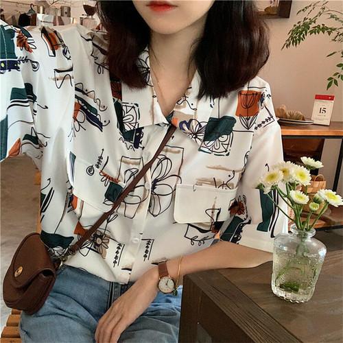 夏 折り襟 POLOネック 5分袖 中袖 プリント パッチポケット 韓国ファッション シャツ・トップス