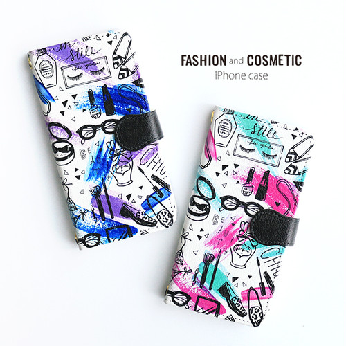 iPhone 手帳型スマホケース 【fashion & cosmetic】 iPhone5/5s/SE/6/6s/7/8/X/XS
