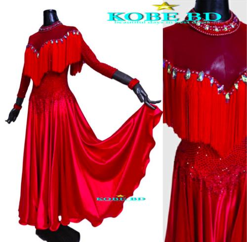 社交ダンスラテンドレス  オーダードレス レッド 赤 真紅 サテンスカート【商品番AI- 9121】パソドブレ