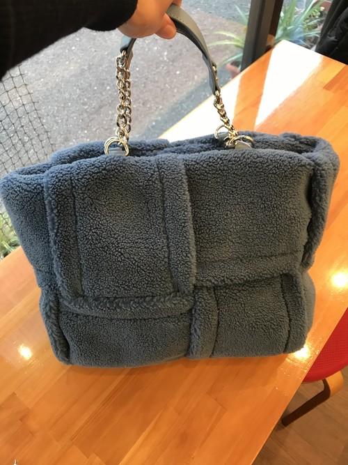 もこもこ可愛い ボア生地トートバッグ ブルー