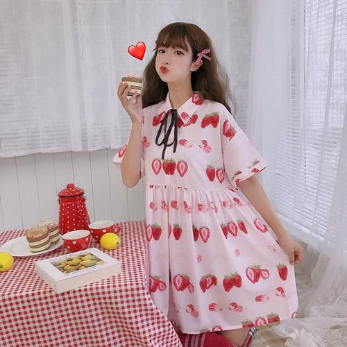 【ワンピース】スウィートキュート春夏フルーツAラインカジュアルワンピース