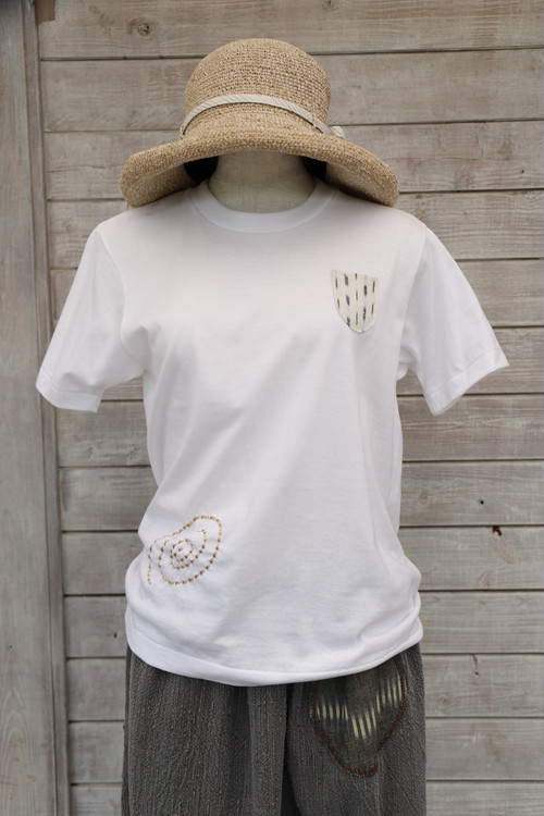 Tシャツ半袖 TSK06 うずまき白絣ポケット