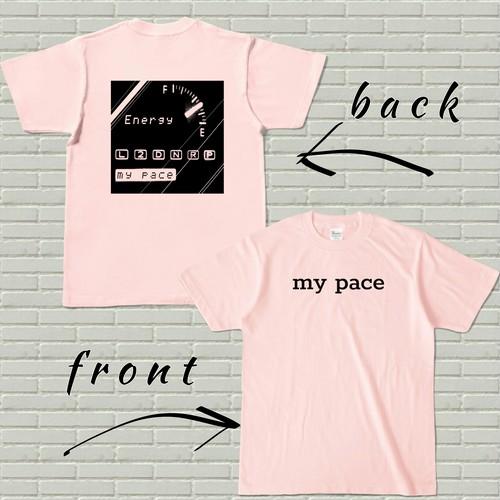 両面プリントTシャツ【my pace】ライトピンク