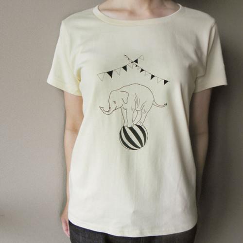 【送料無料!】circusぞうさんTシャツ(モノクロ)