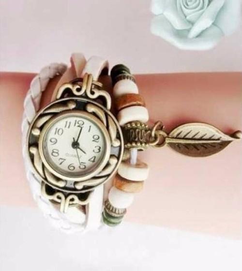 【即納】☆レザーブレスウォッチ 腕時計 白/ホワイト A098