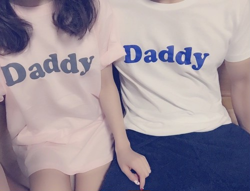 Daddy T shirt   White × blue