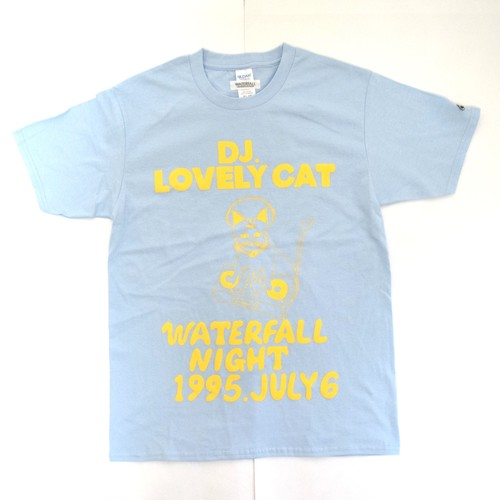 「DJ猫」レコードワッペン猫ツアーTシャツ 2021SS新色 薄ブルー S/M/L WATERFALL限定商品