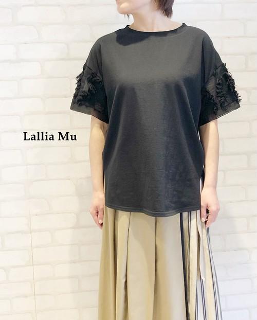Lallia Mu/袖ジャガードカットソー/2112462(ブラック)