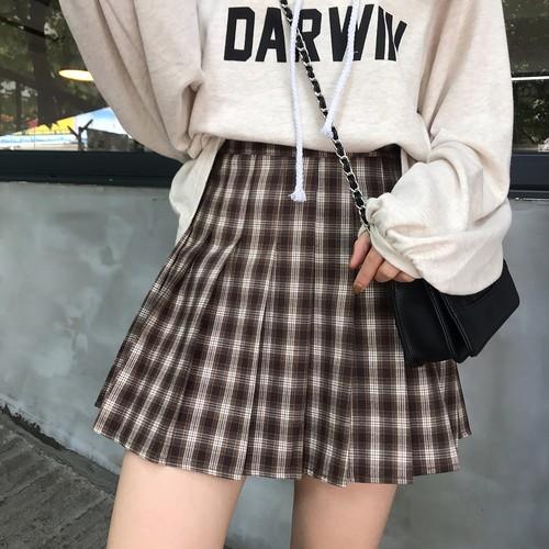 【送料無料】シルエットが可愛いAライン♡ ミニスカート プリーツスカート チェック