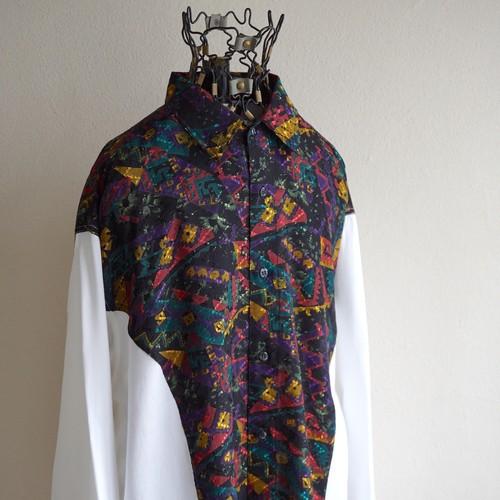1980's [in design concept] 切替 L/S ポリ/レーヨンシャツ ブラック柄×ホワイト 実寸(L程度) ヴィンテージ