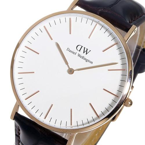 ダニエル ウェリントン ヨーク/ローズ 40mm クオーツ 腕時計 0111DW (DW00100011)(DW00600011) ホワイト