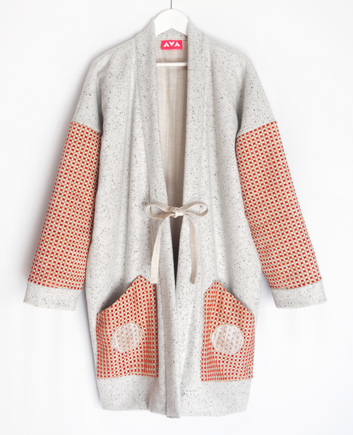 """granite white & red wool haori coat"""