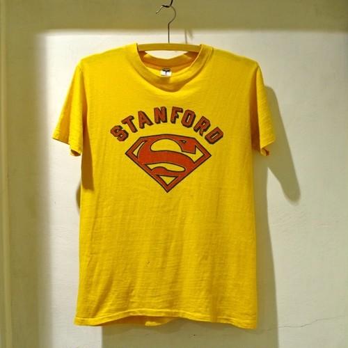 ヴィンテージ 染み込みプリント Tシャツ / 1960〜70s Artex Stanford Tee with SUPER MAN !!