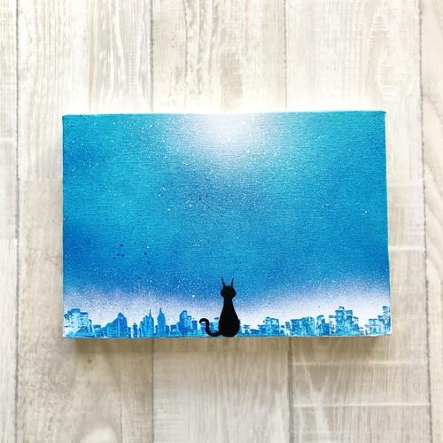 「猫のいる街」 キャンバスパネル風景画