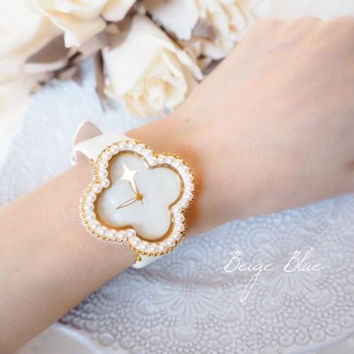 """完成品 Blanche Fleur  ″白いお花"""" 時計"""