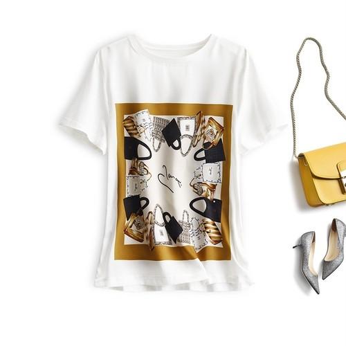 【tops】着回し力抜群カジュアルプリントTシャツ2色着やすい着心地よい