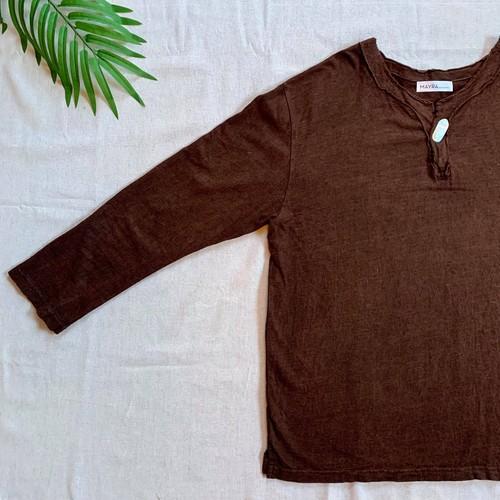 【Mens】ヘンプコットン泥染Tシャツ・長袖・伝統工芸士染め・夜光貝ボタン付