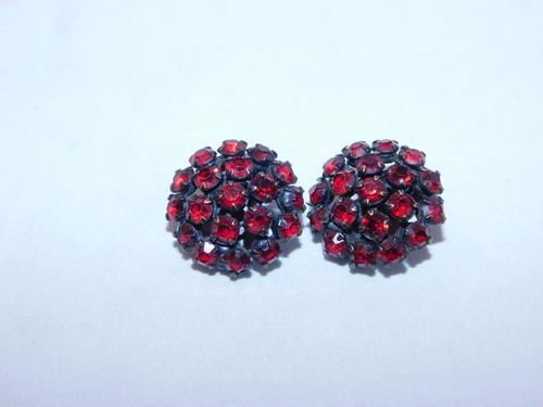 ガーネット色イヤリング(ビンテージ) garnet color vintage earrings