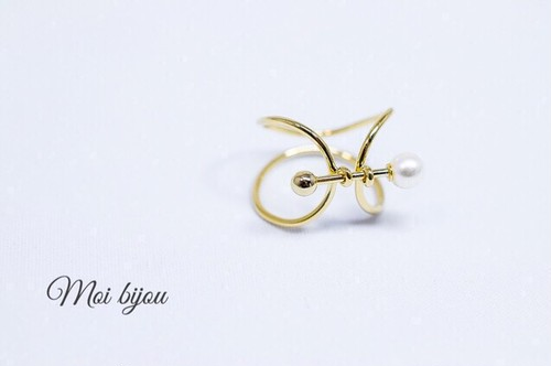 Curve point bar pearl ring*