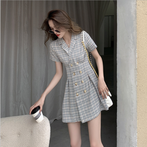 【dress】人気を独占中人気デザインチェック柄 着痩せデートワンピース
