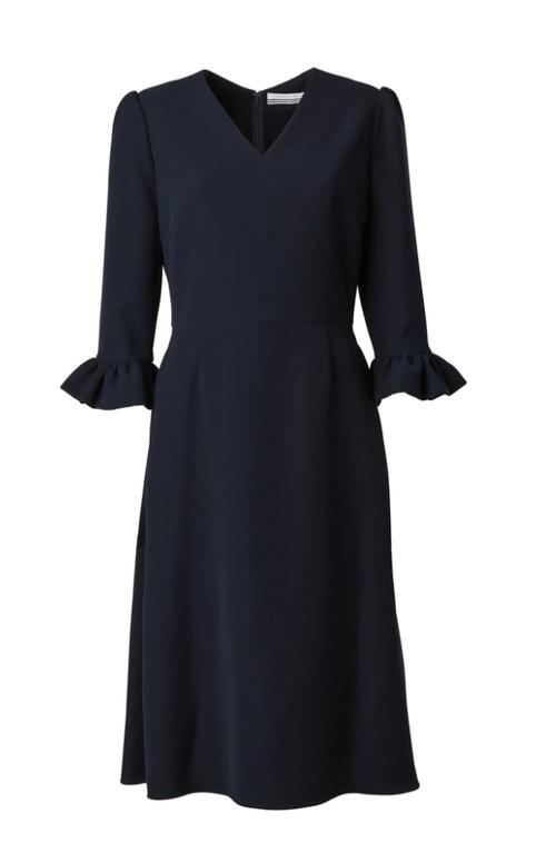 BORDERS AT BALCONY V-NECK DRESS