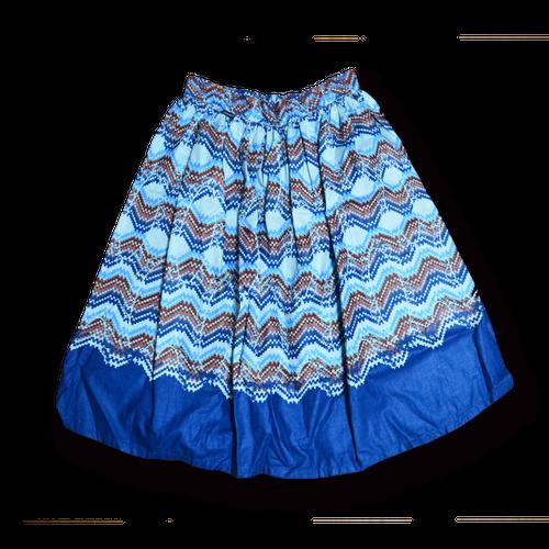 アフリカ柄ミニスカート(水色)