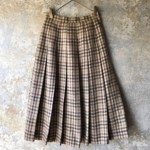 vintage pleated skirt / beige brown