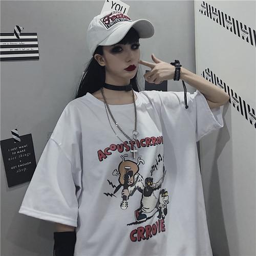 【トップス】ストリートレトロカートゥーンプリント半袖Tシャツ27288257