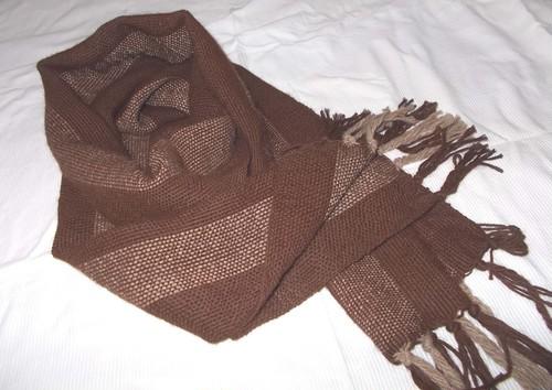 アルパカ100%自然色こげ茶 手織りマフラー