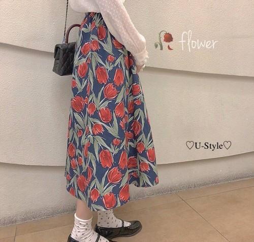 【即日発送】人気NO2   花柄ロングスカート