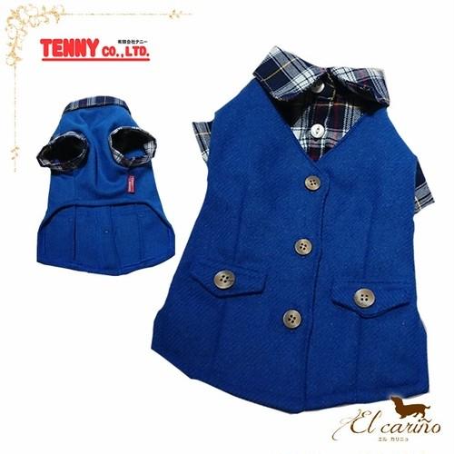 5。TENNY 犬 服 ベスト シャツ ブルー 袖あり チェック 襟 秋 冬物