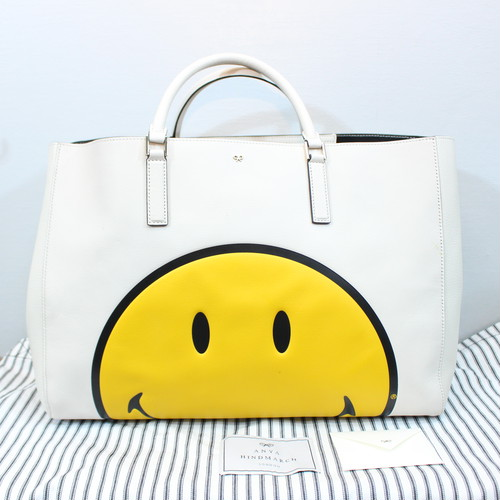 .ANYA HINDMARCH EBURY SHOPPER SMILY LEATHER TOTE BAG MADE IN ITALY/アニヤハインドマーチイーブリーレザートートバッグ 2000000035888